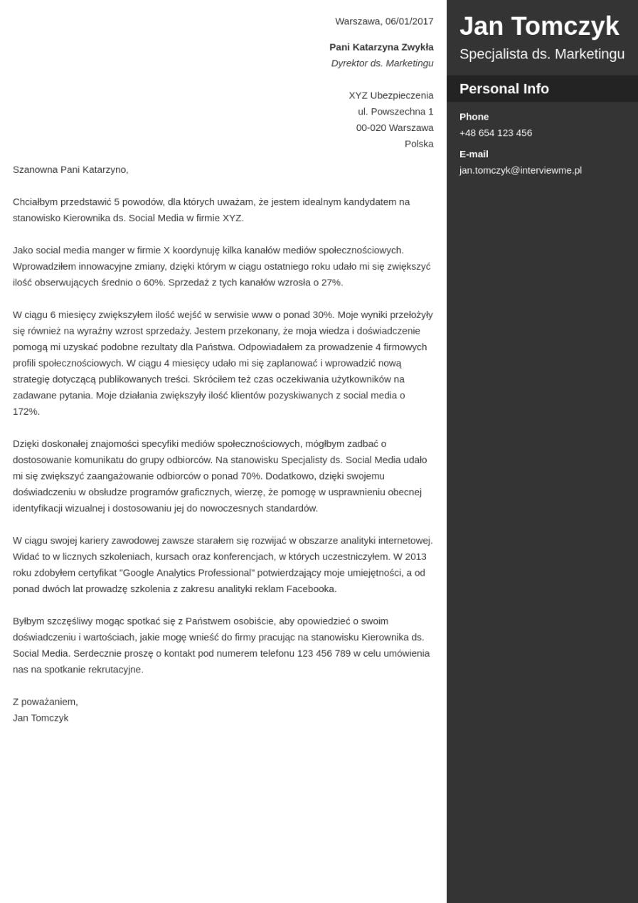 Szablon listu motywacyjnego Enfold