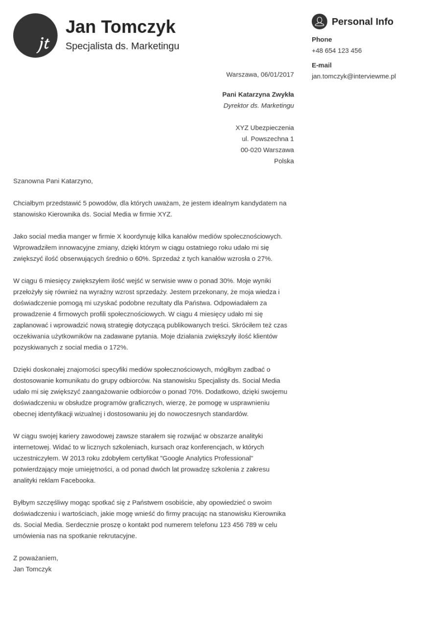 Szablon listu motywacyjnego Primo