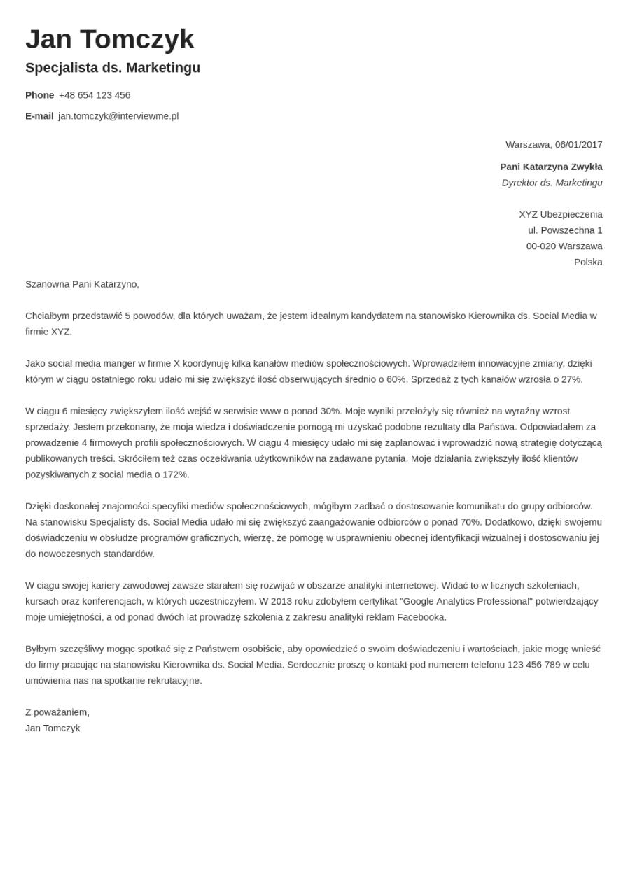 Szablon listu motywacyjnego Valera