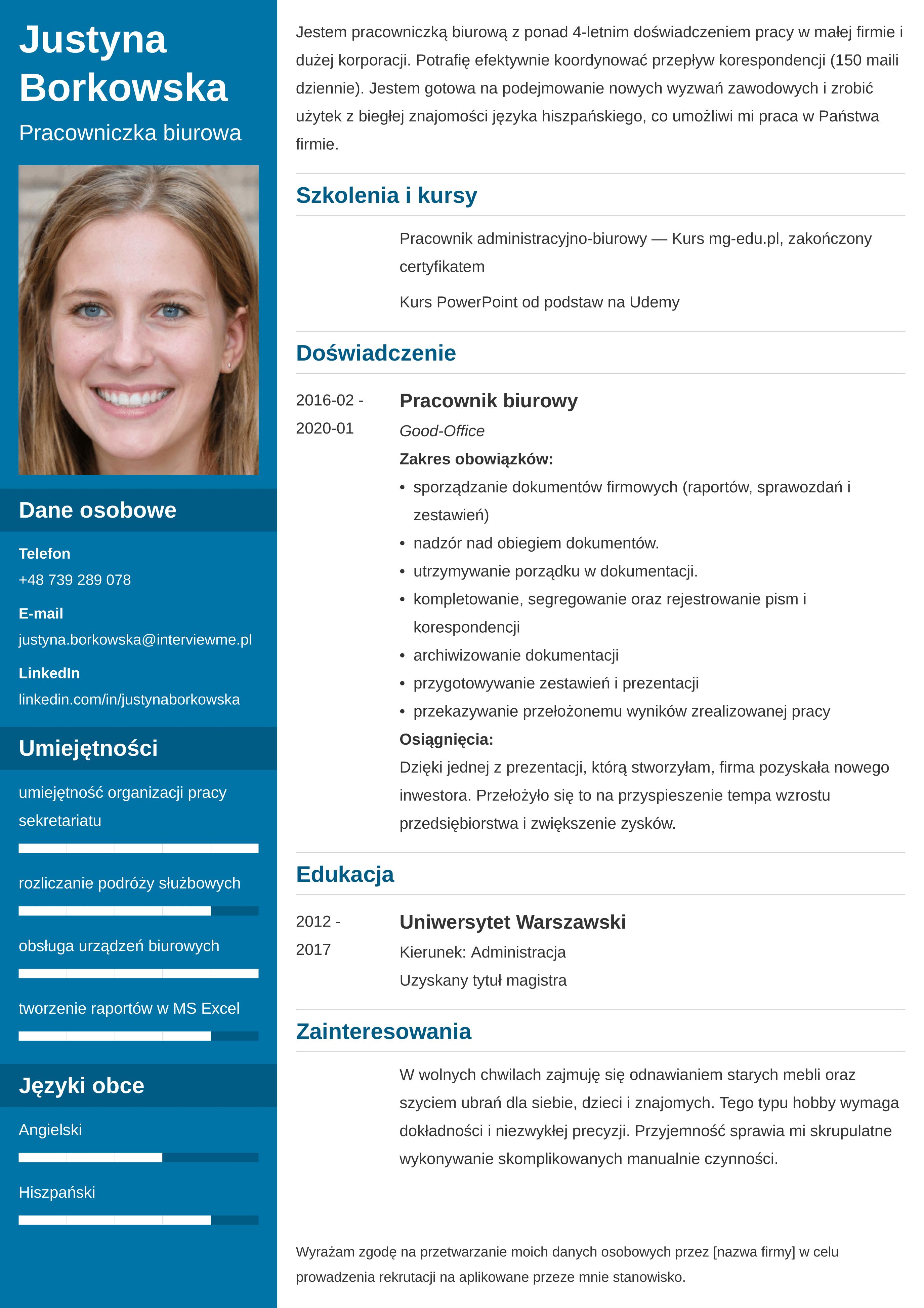 CV funkcjonalne wzór