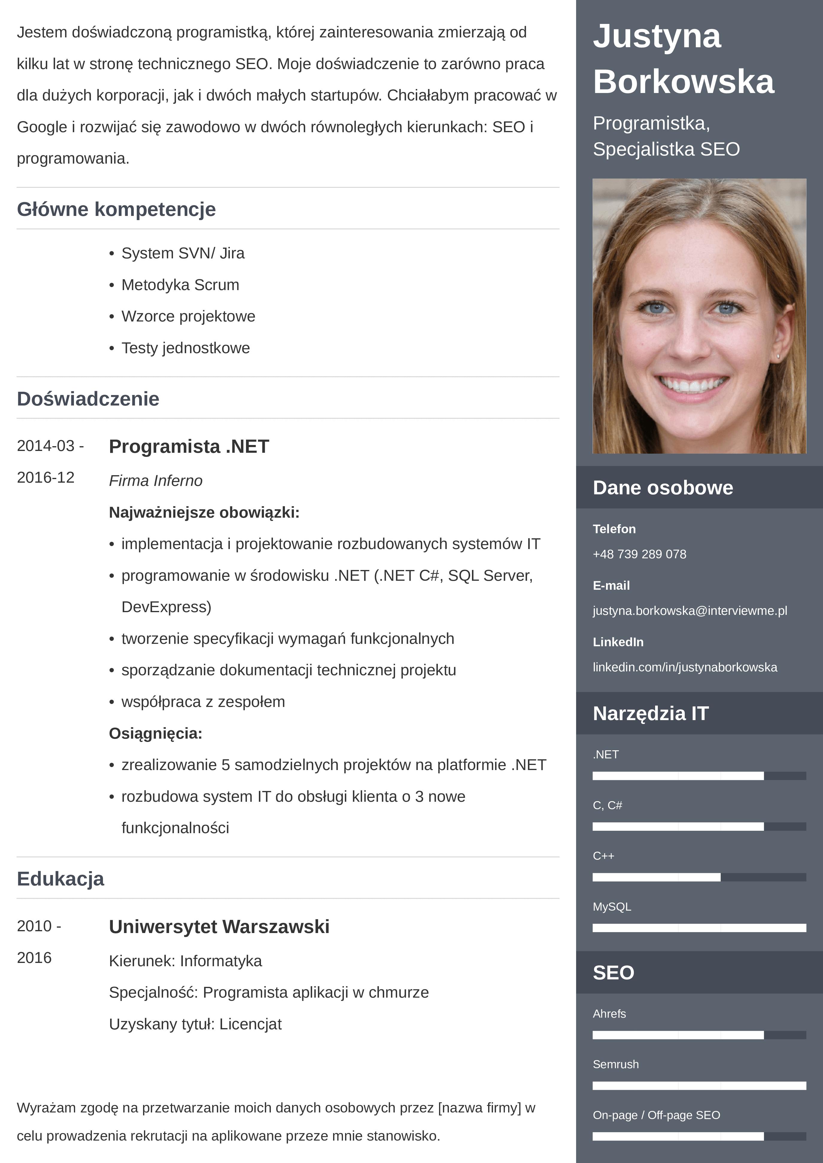 CV mieszane wzór