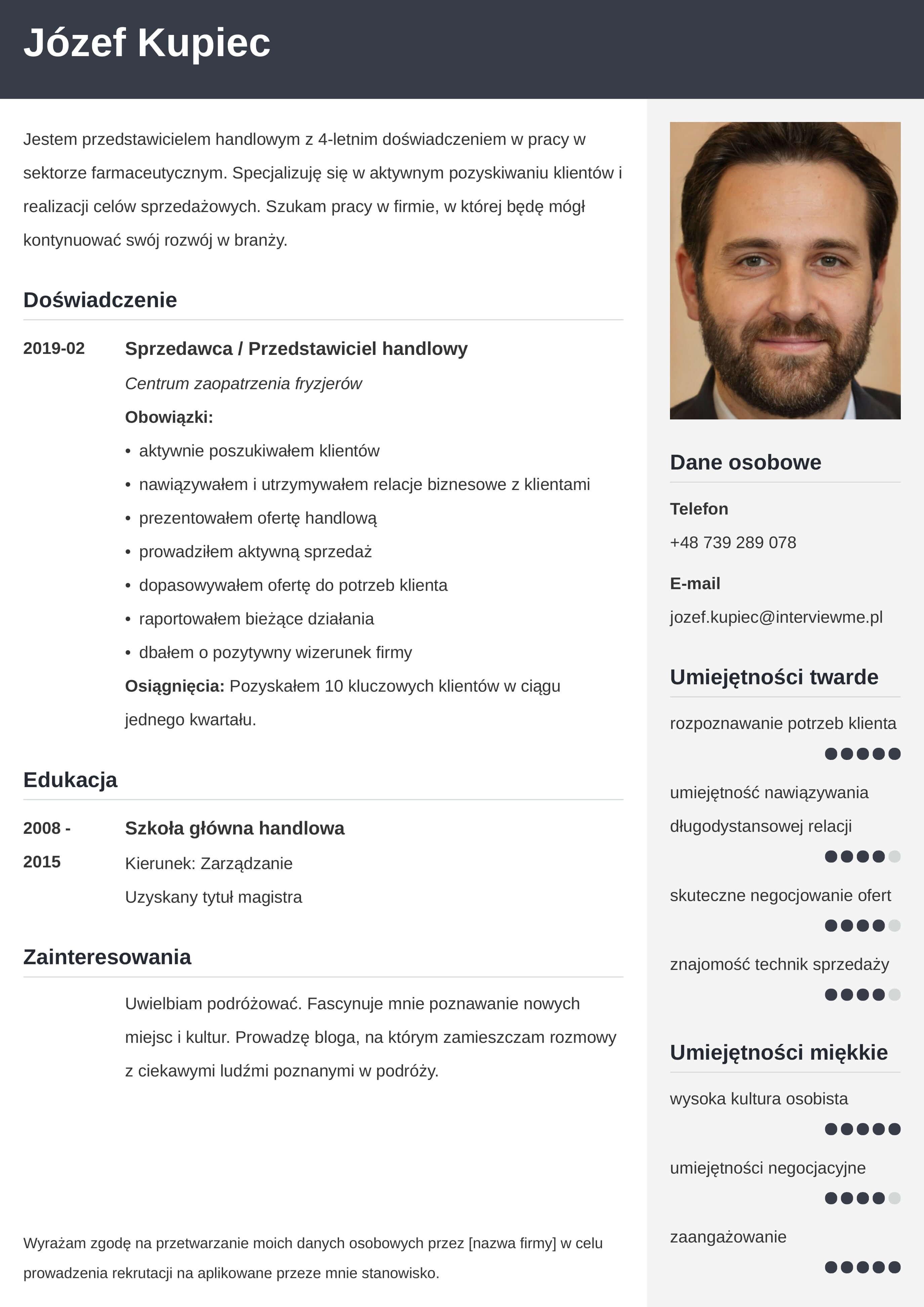 CV wzór dla sprzedawcy