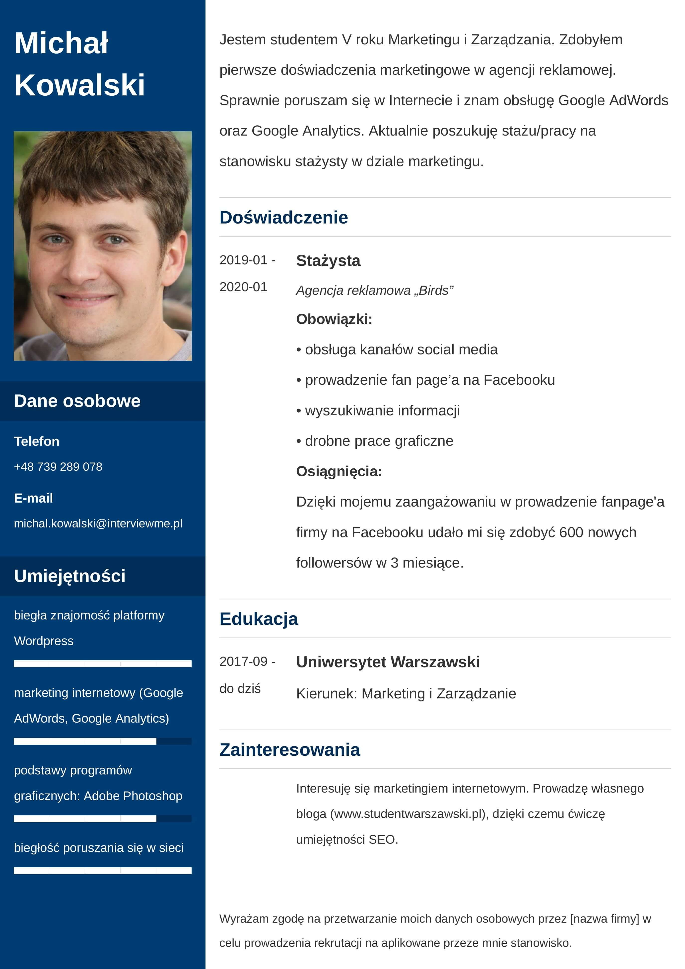 CV wzór dla studenta