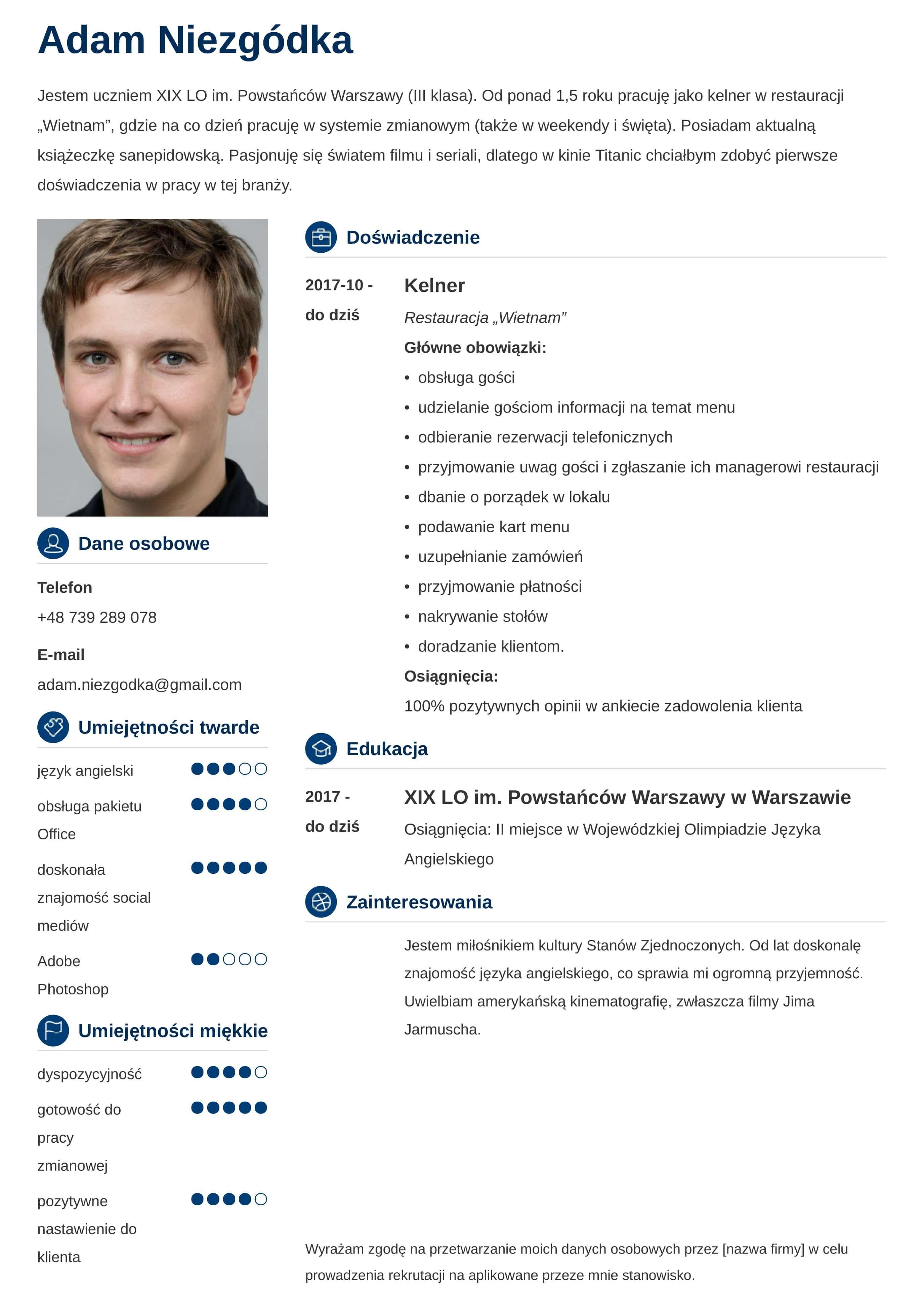 CV wzór dla ucznia