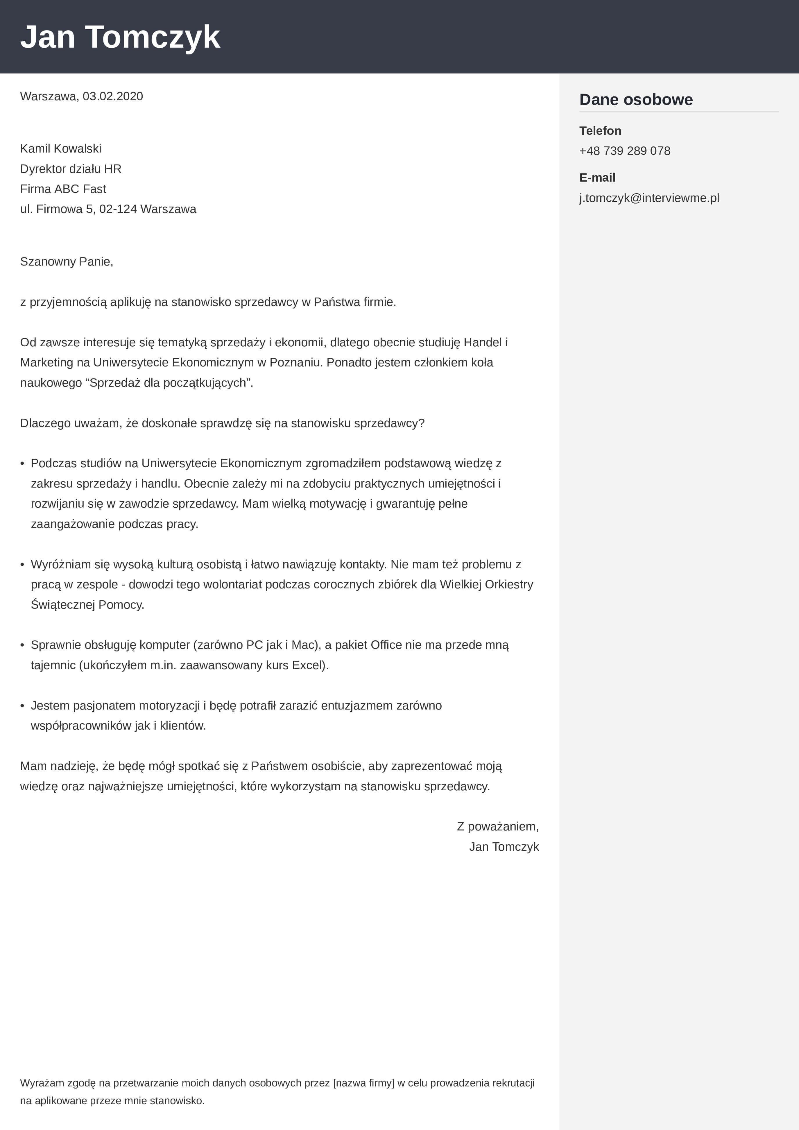 List motywacyjny - wzór dla osoby bez doświadczenia