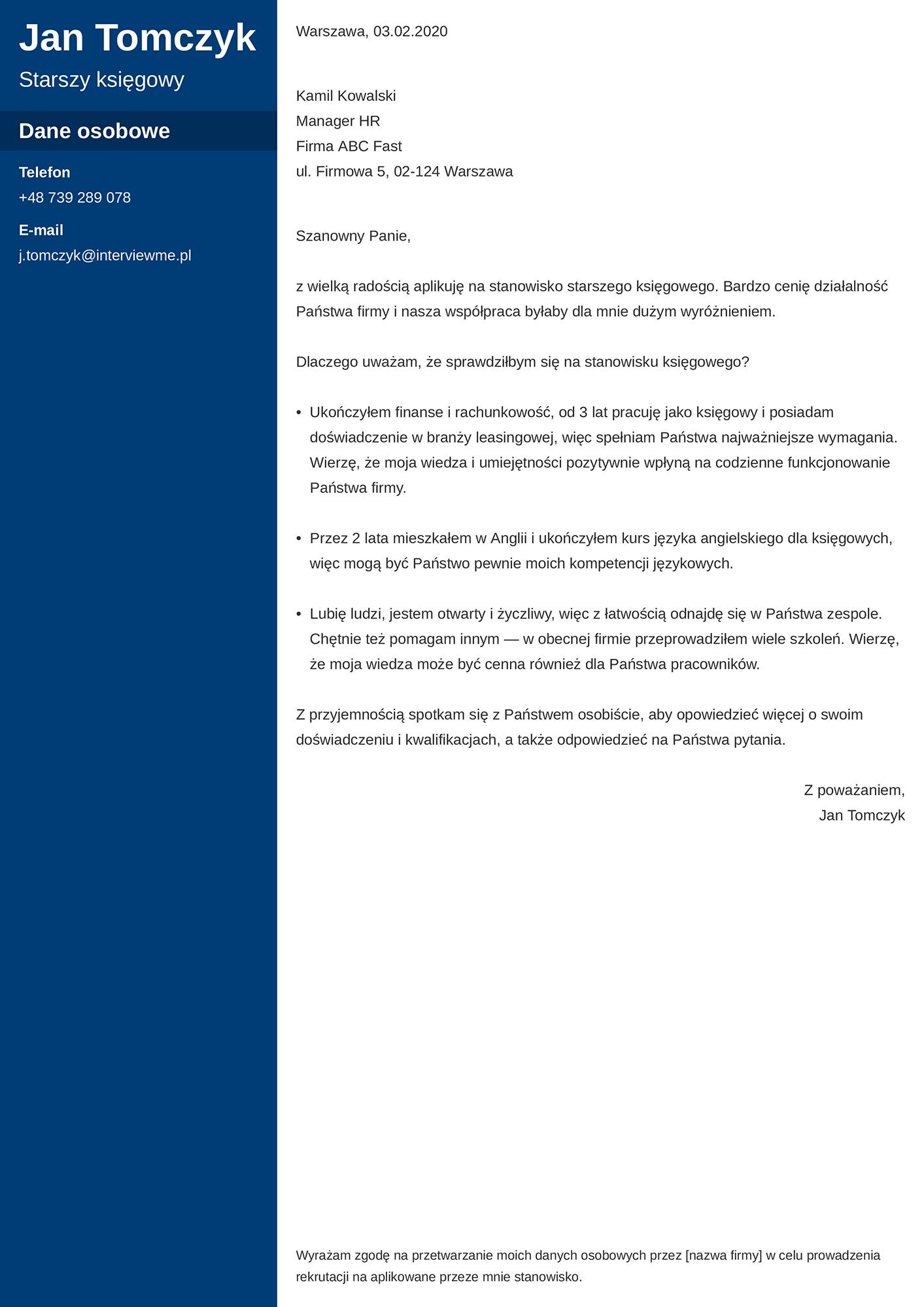 List motywacyjny - wzór dla księgowego