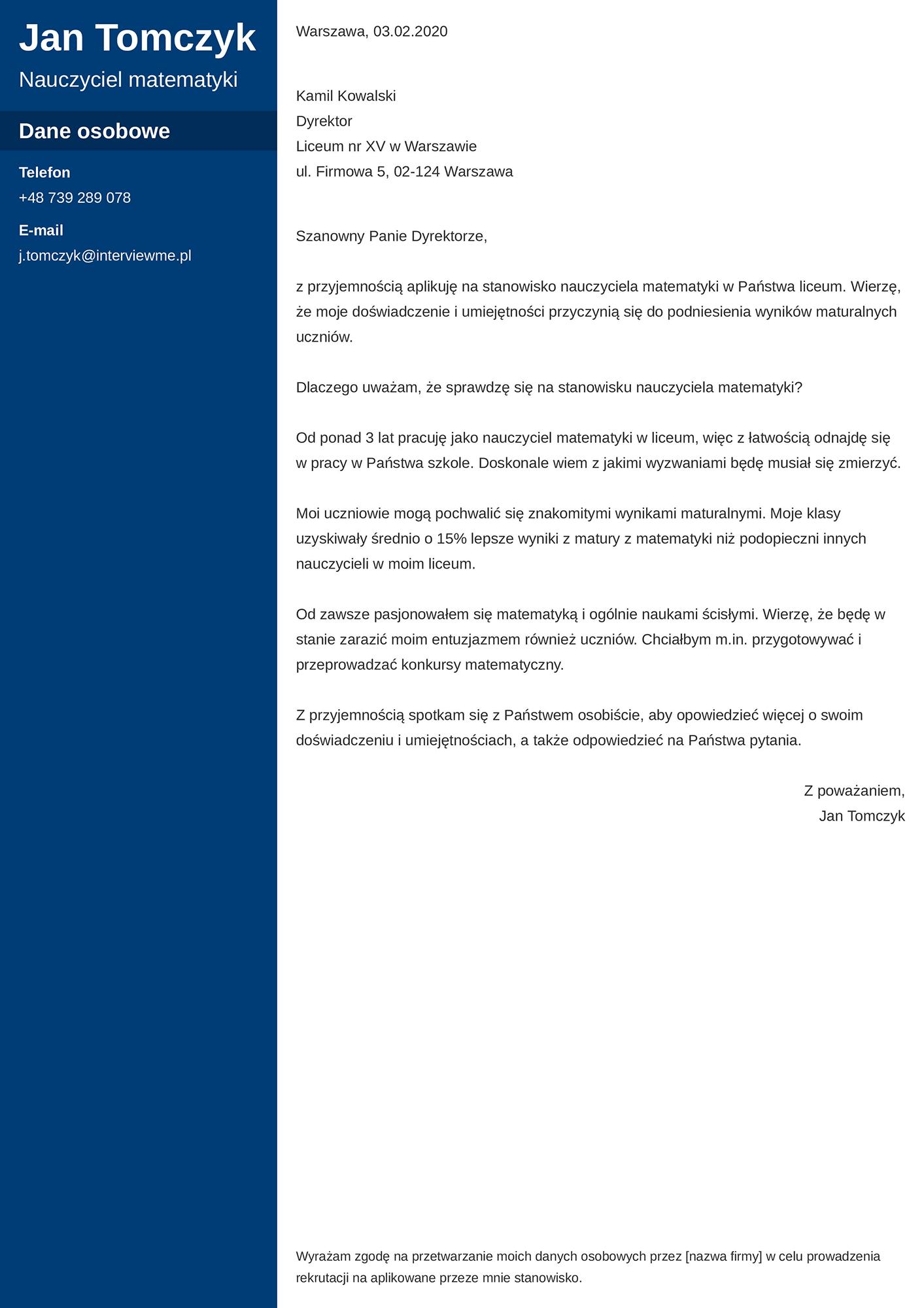 List motywacyjny - wzór dla nauczyciela