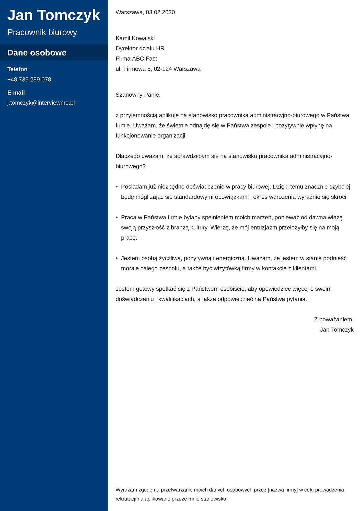 List motywacyjny - wzór dla pracownika biurowego