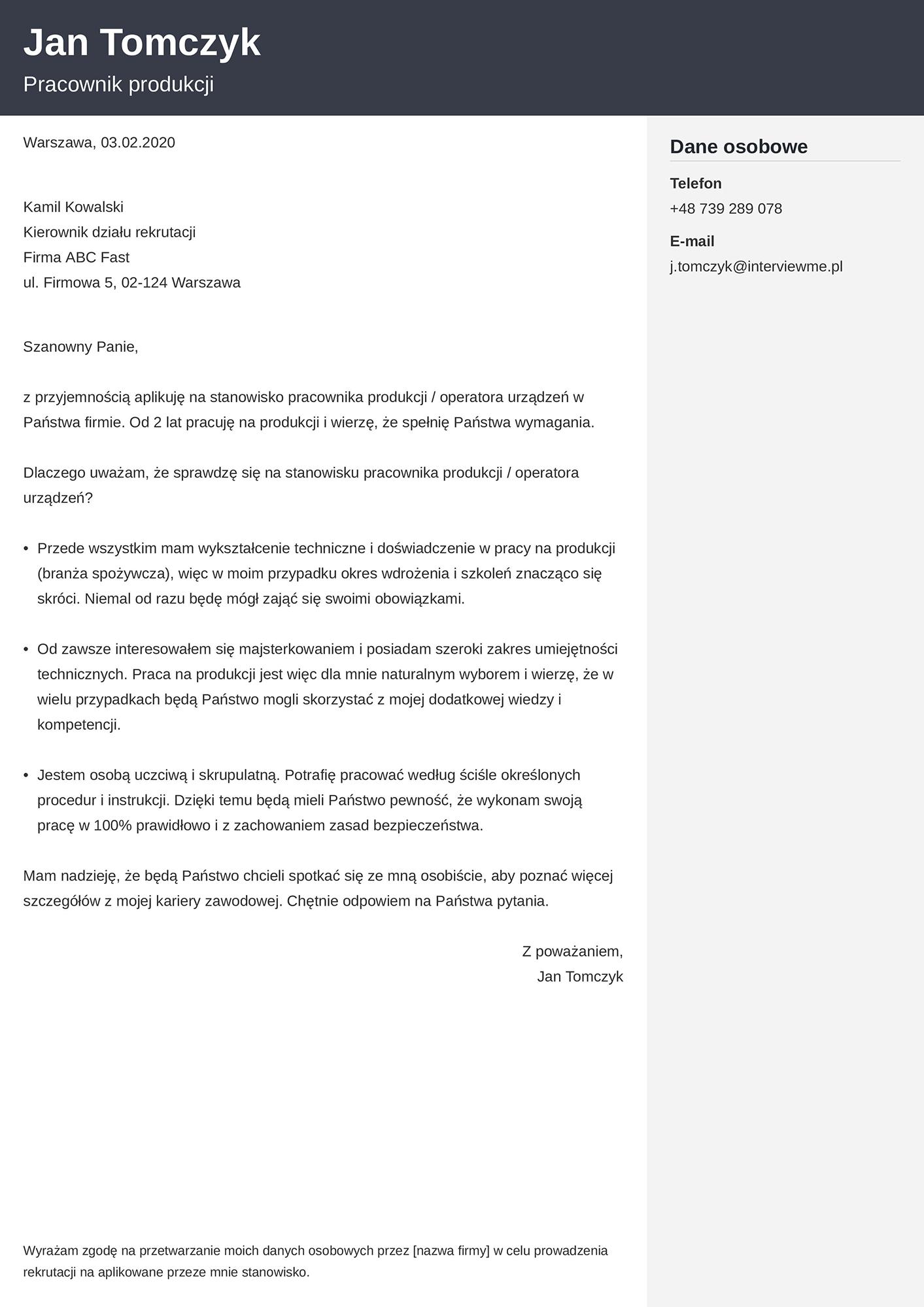 List motywacyjny - wzór dla pracownika produkcji