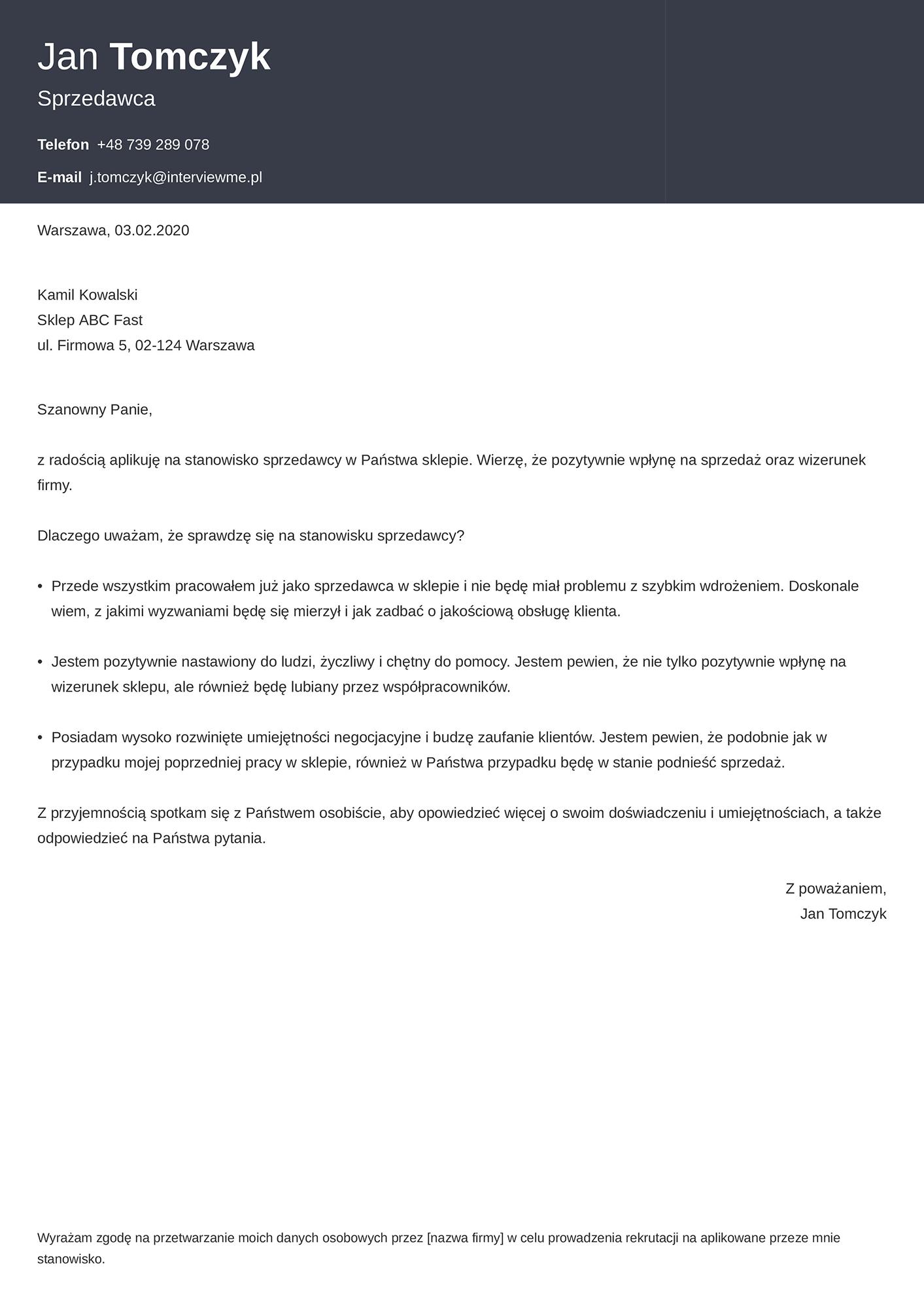 List motywacyjny - wzór dla sprzedawcy