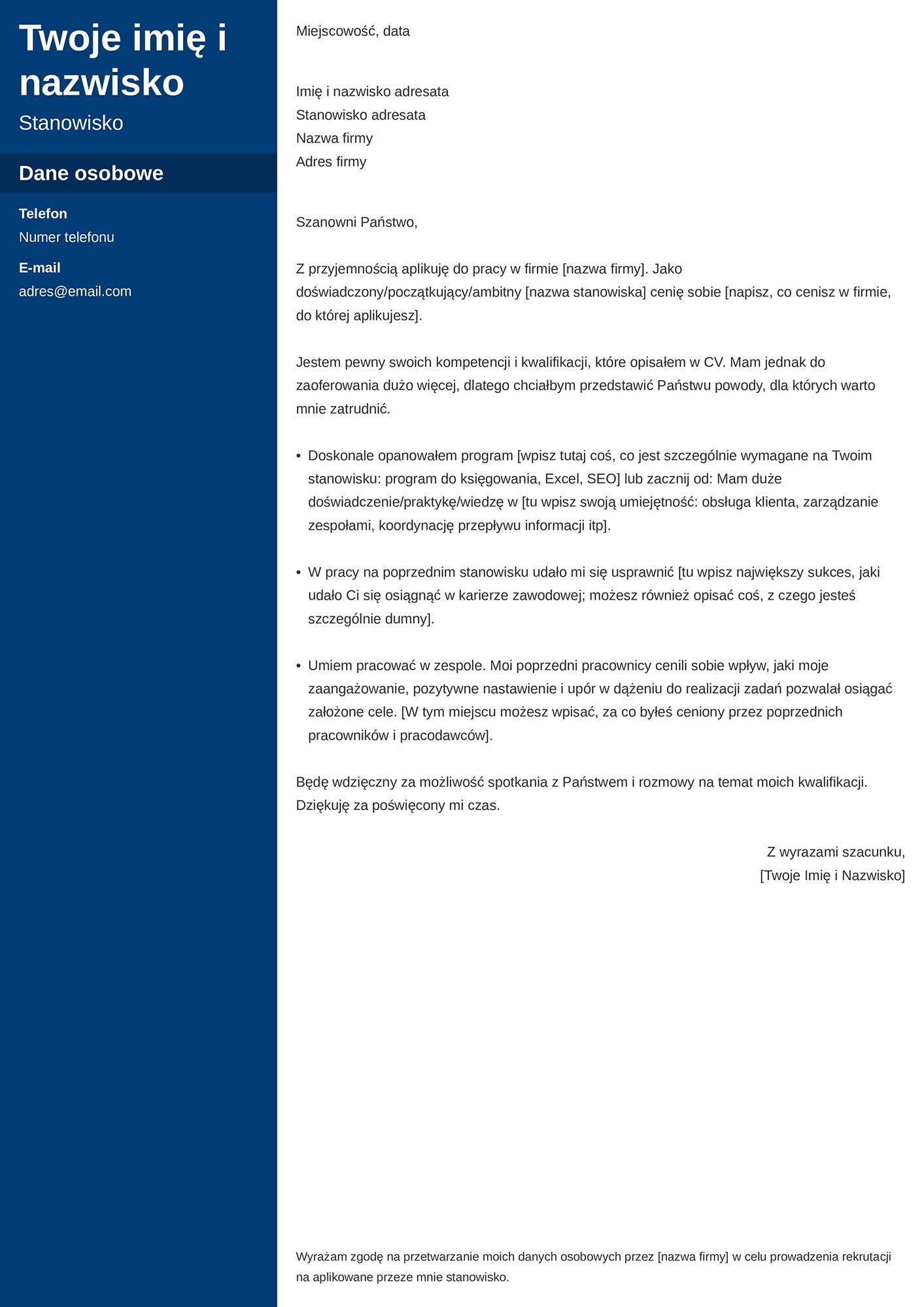 List motywacyjny - wzór ogólny