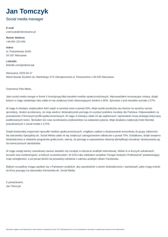List motywacyjny szablon Minimo