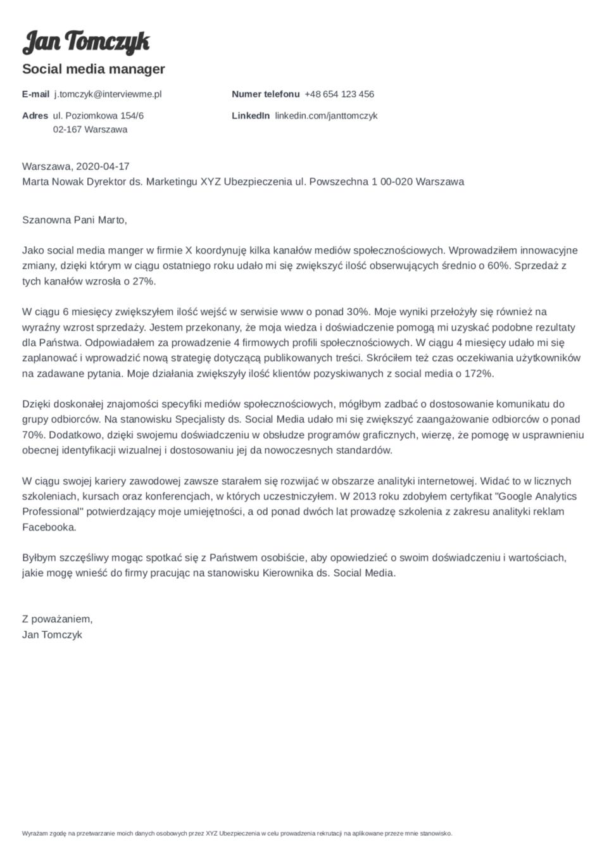 List motywacyjny szablon Valera