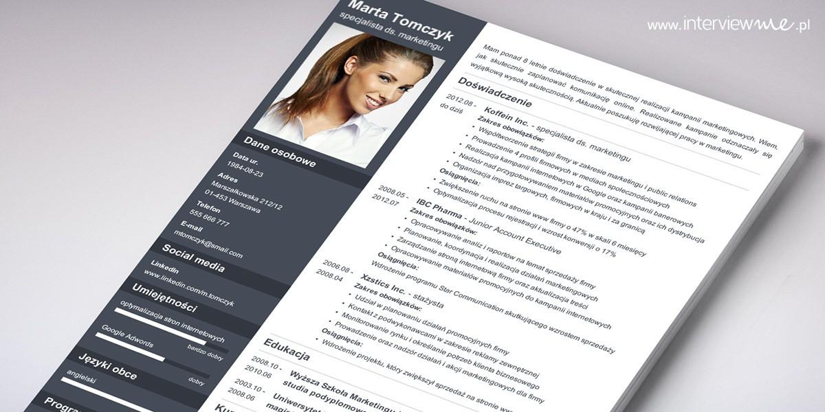 profesjonalny szablon CV