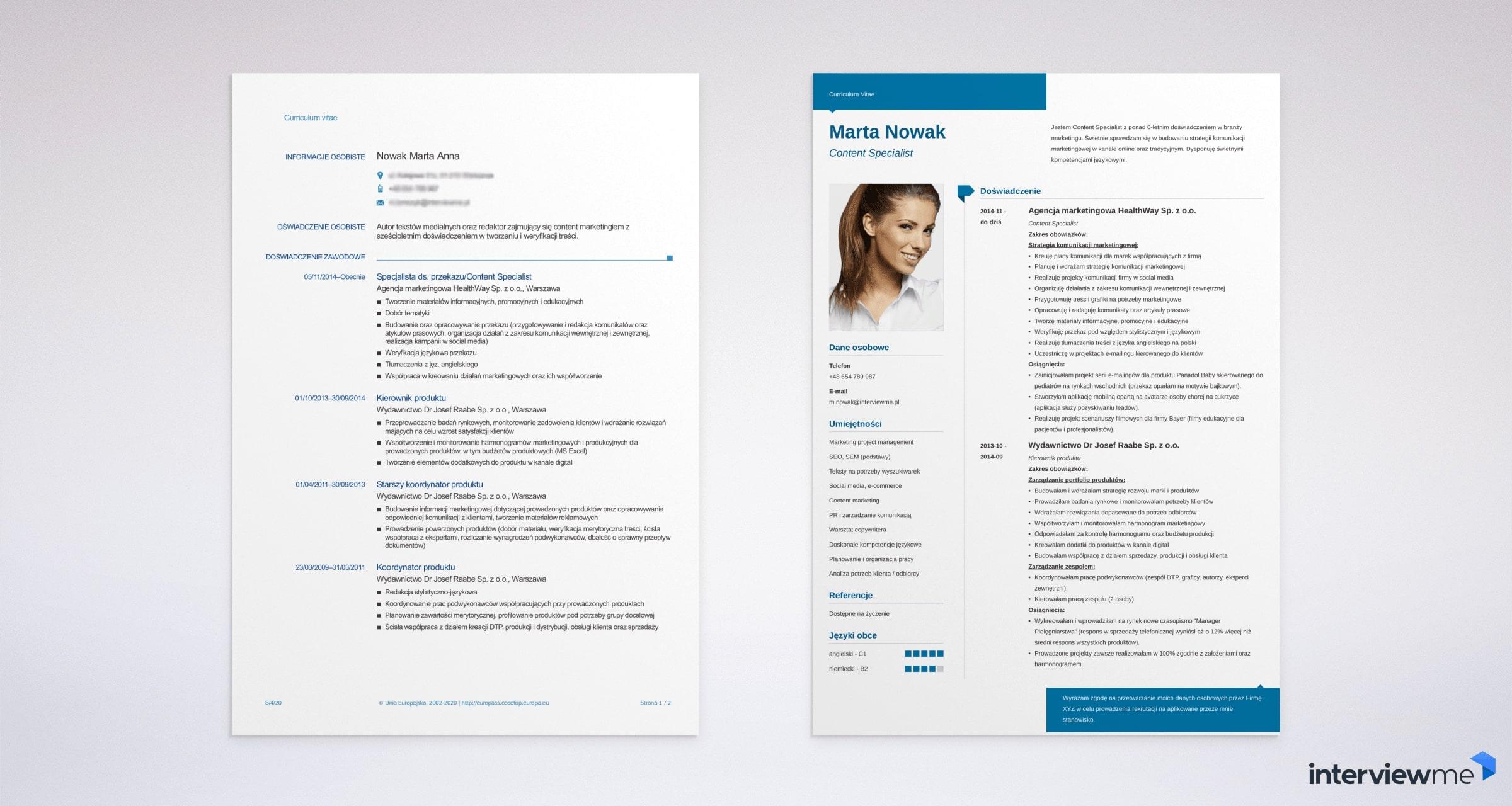 Porównanie złego i dobrego CV