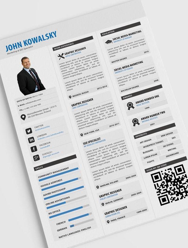 profesjonalny szablon CV do pobrania za darmo z kodem QR