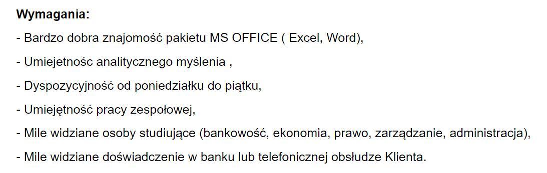 cel zawodowy pracownik biurowy