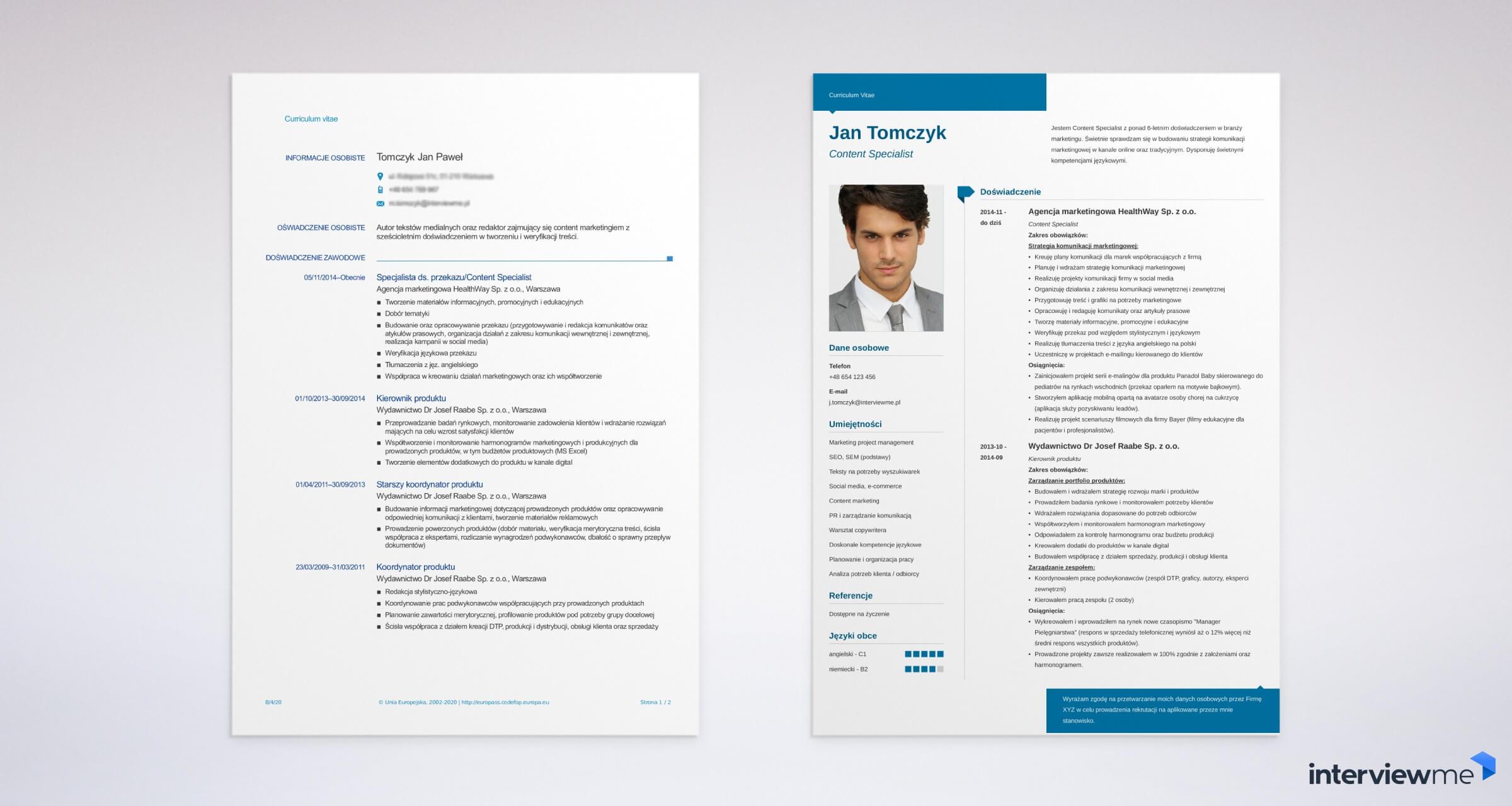 CV do wypełnienia na komputerze