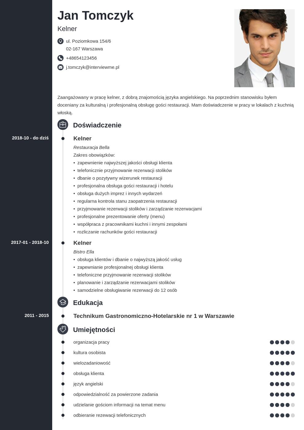 cv list motywacyjny kelner template concept