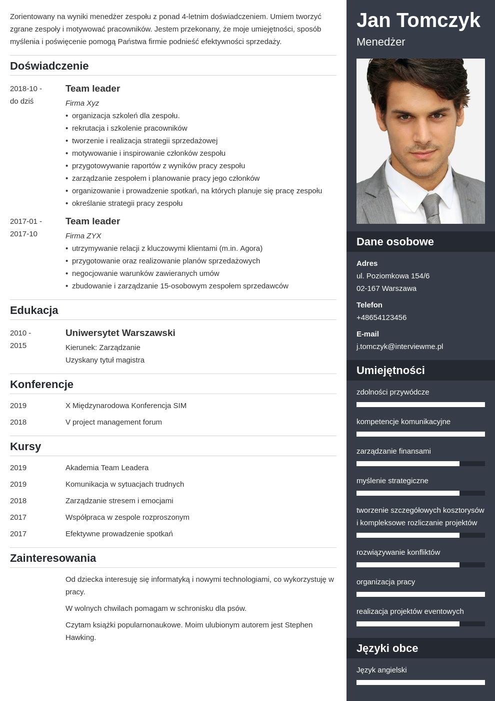 cv list motywacyjny managera template enfold