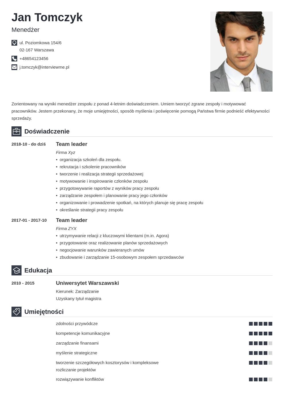 cv list motywacyjny managera template iconic
