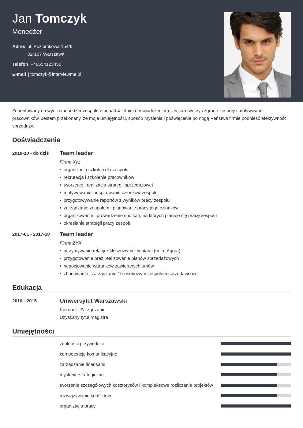 cv list motywacyjny managera template influx