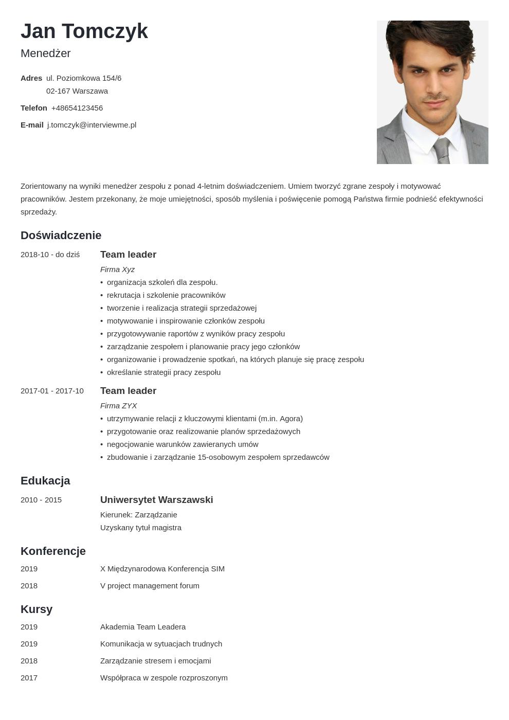 cv list motywacyjny managera template minimo