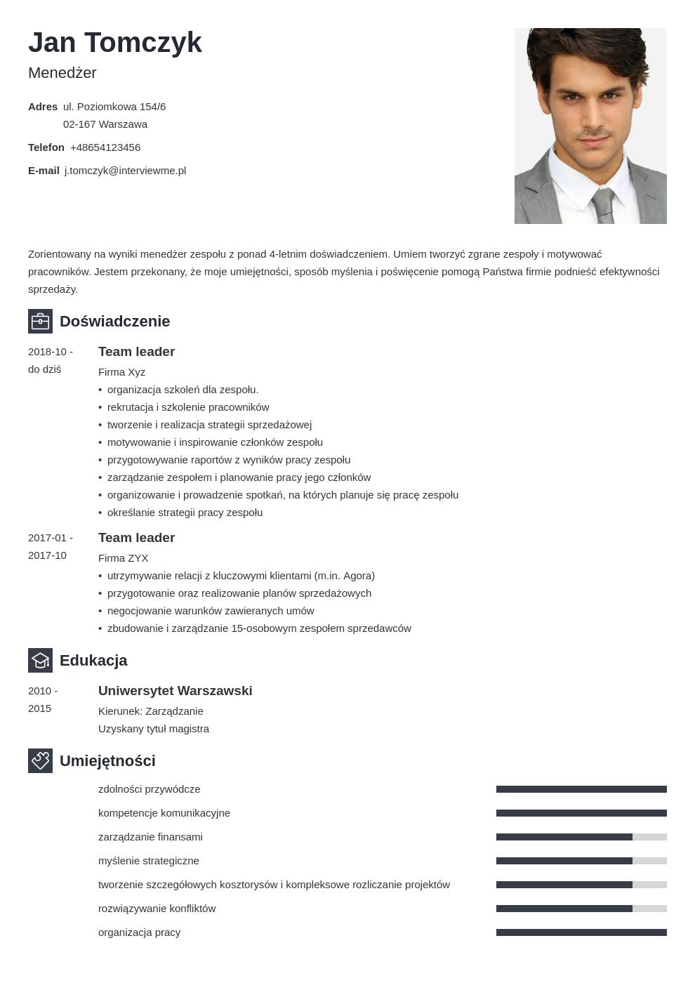 cv list motywacyjny managera template newcast