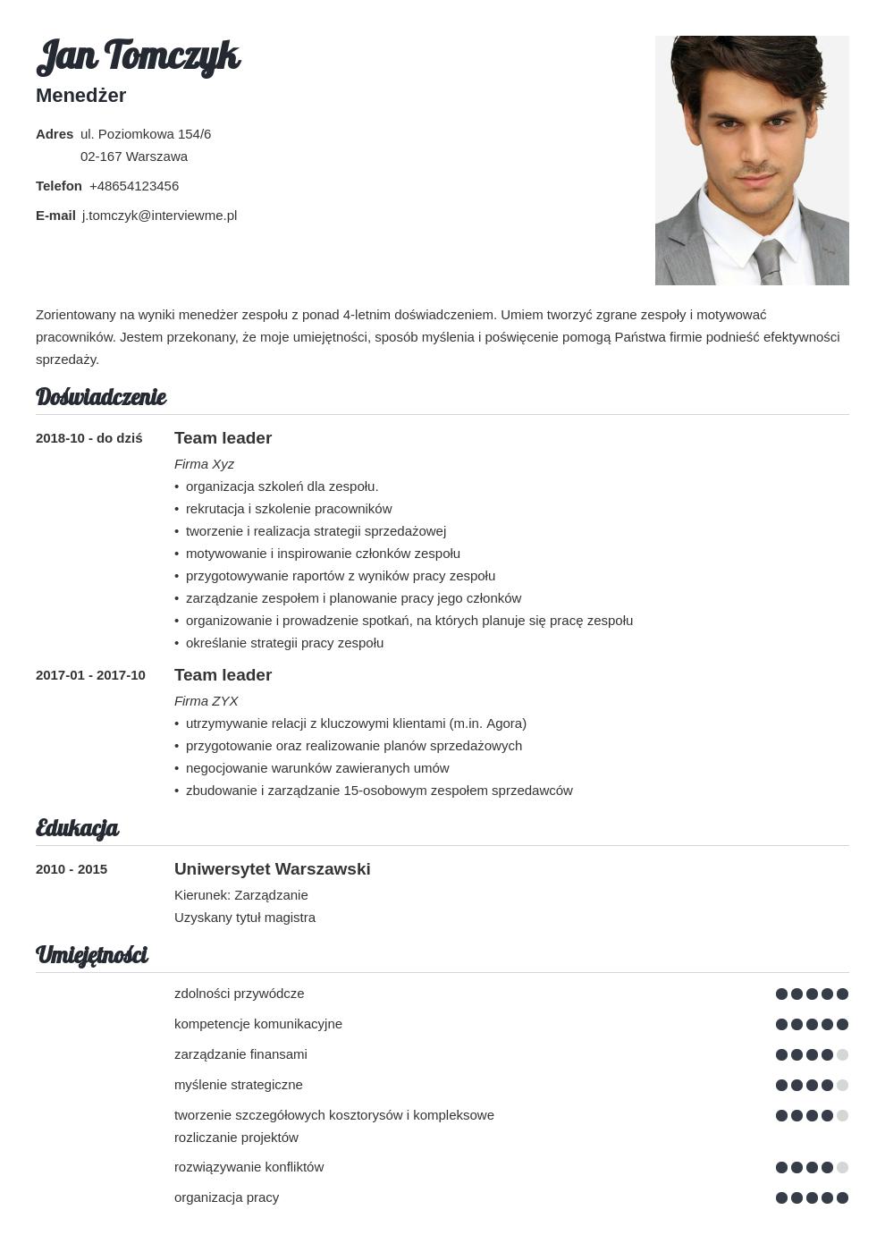 cv list motywacyjny managera template valera