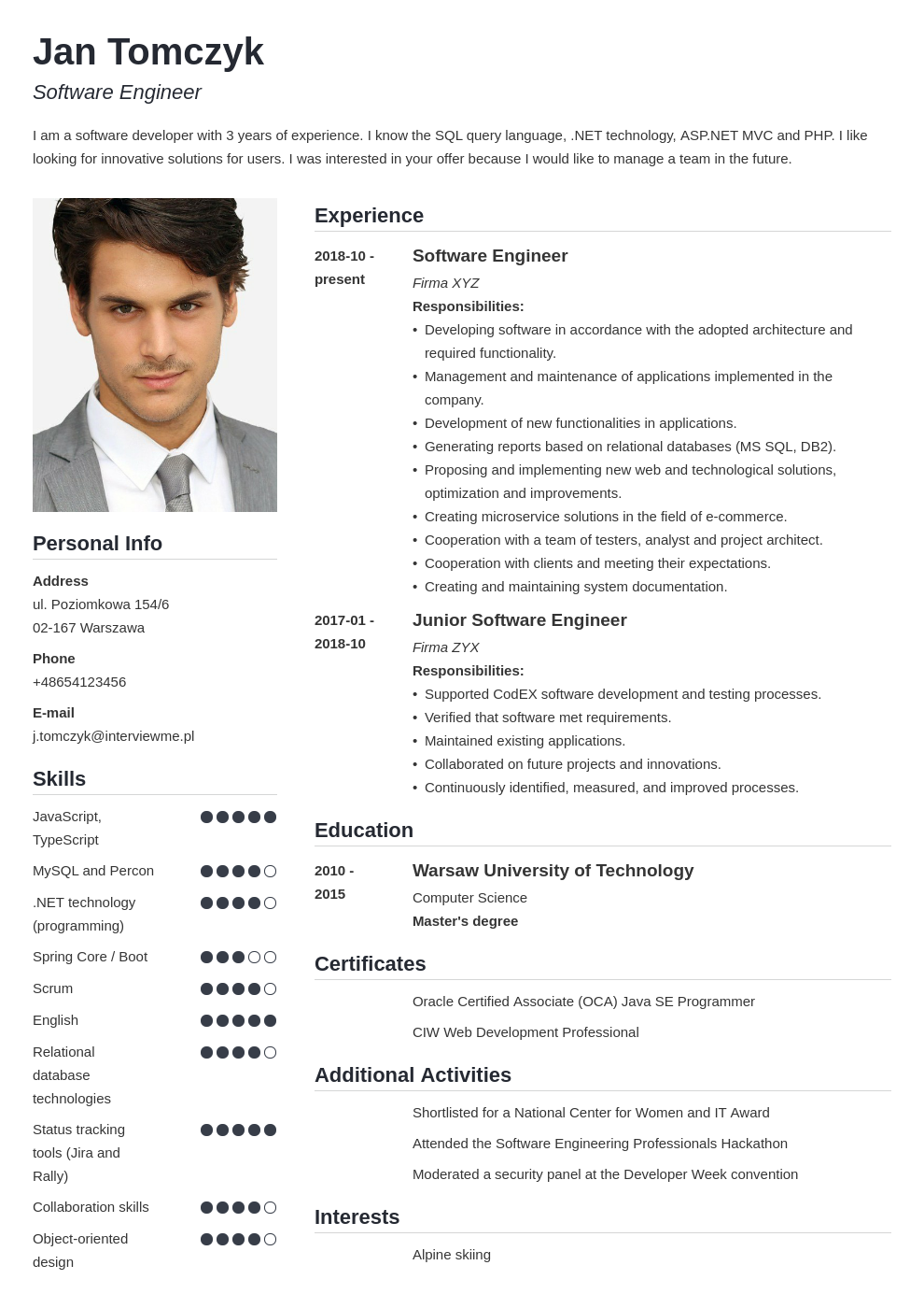 cv po angielsku template simple
