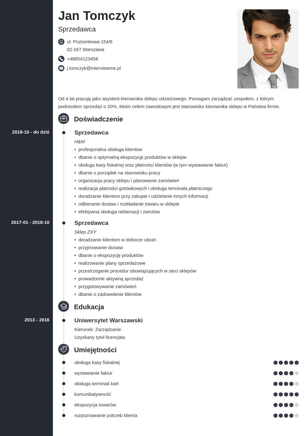 cv sprzedawca przedstawiciel handlowy template concept