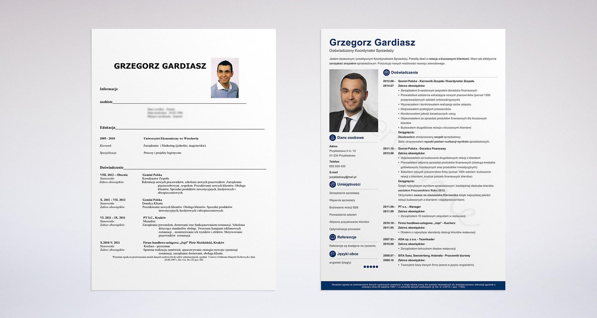 nowoczesne CV Grzegorza