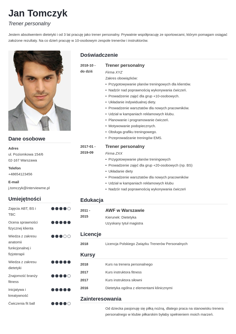 darmowe cv template simple
