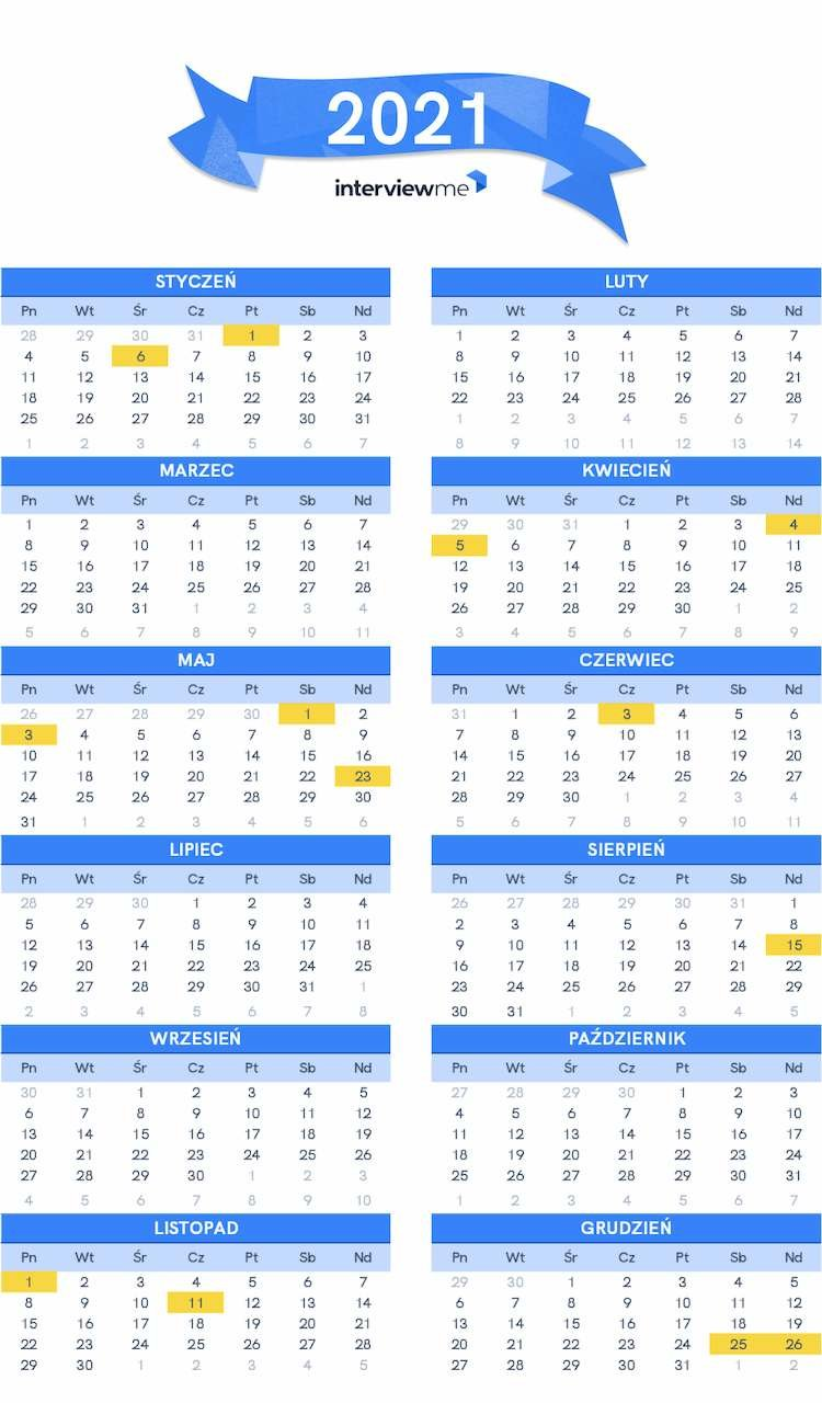 Dni wolne od pracy kalendarz 2021