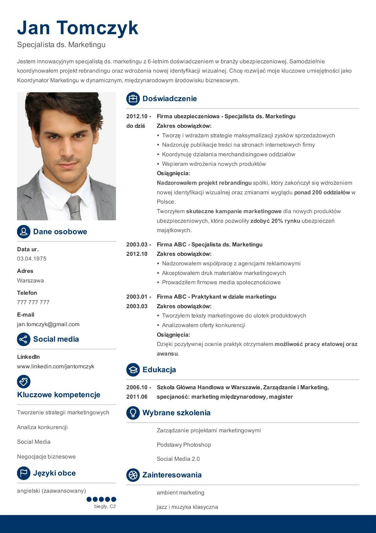 wzór CV marketingowca