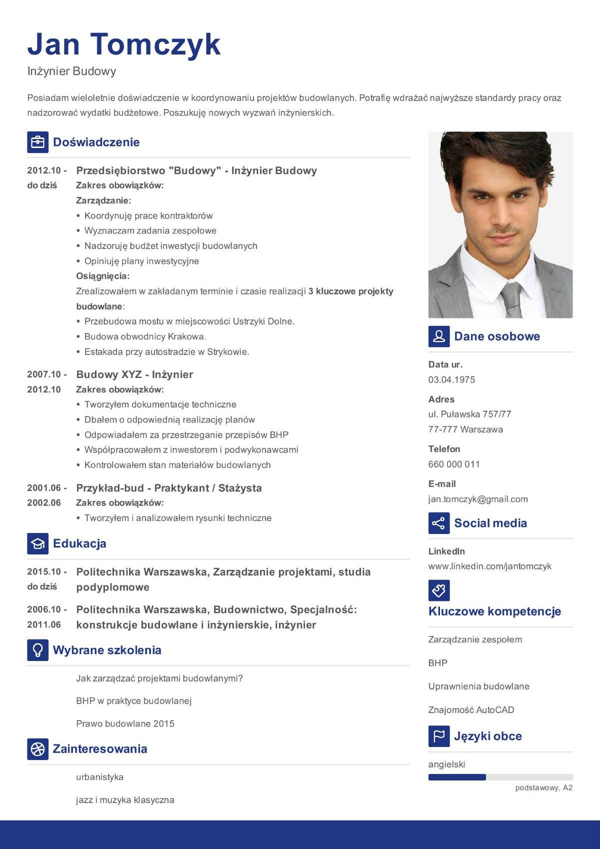 wzór CV inżyniera budowlanego