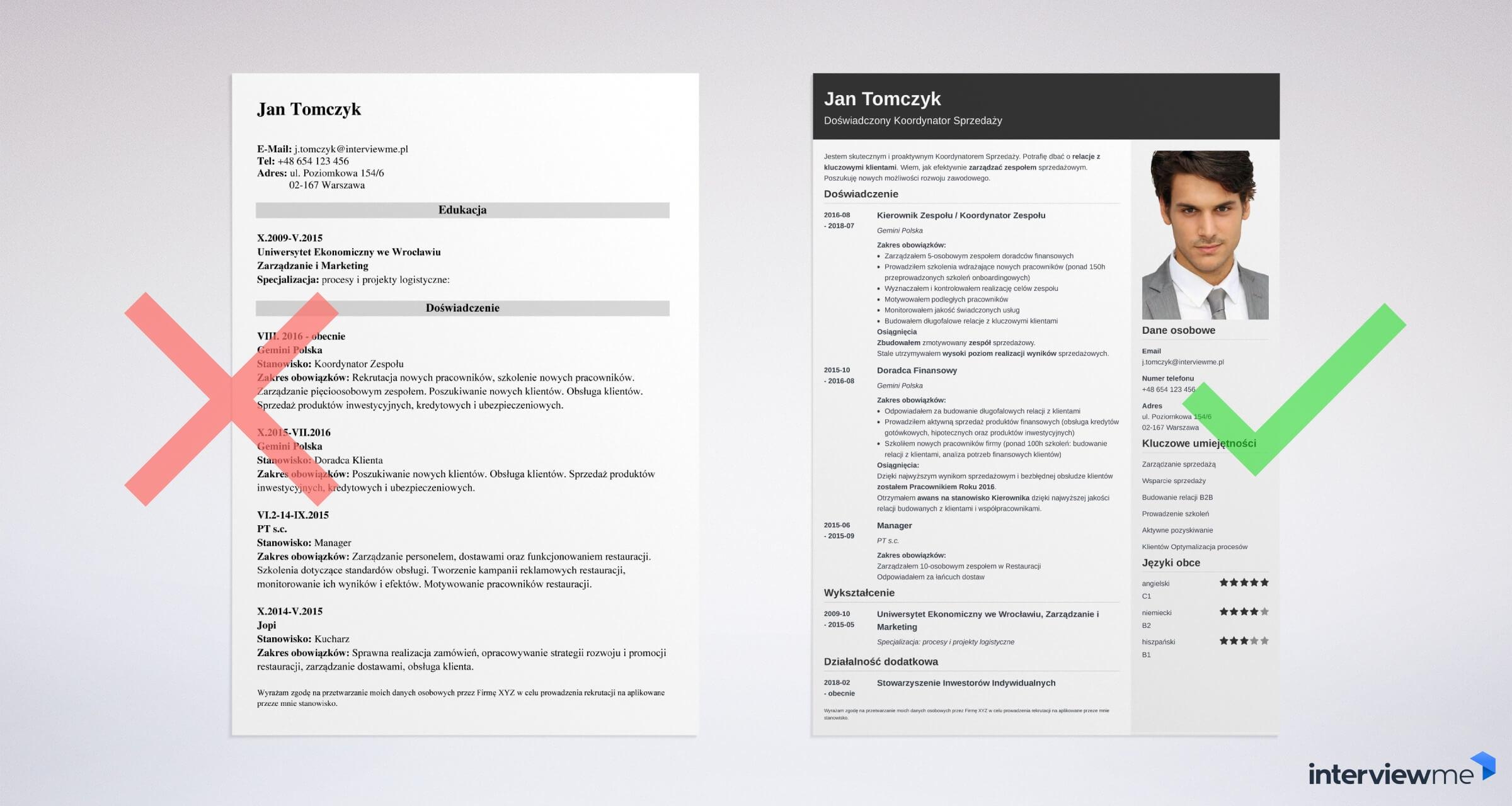 szablon CV dla studenta