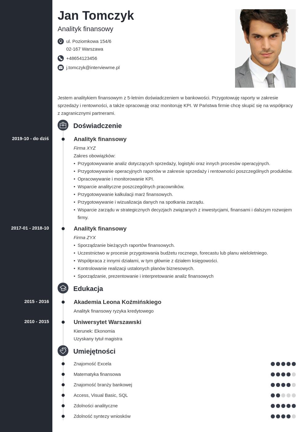 idealne cv dla specjalisty i managera template concept