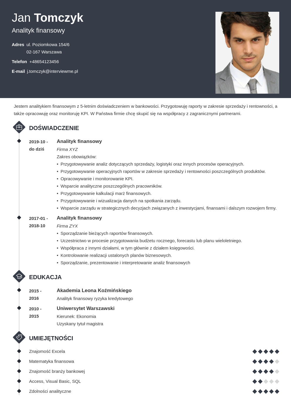 idealne cv dla specjalisty i managera template diamond