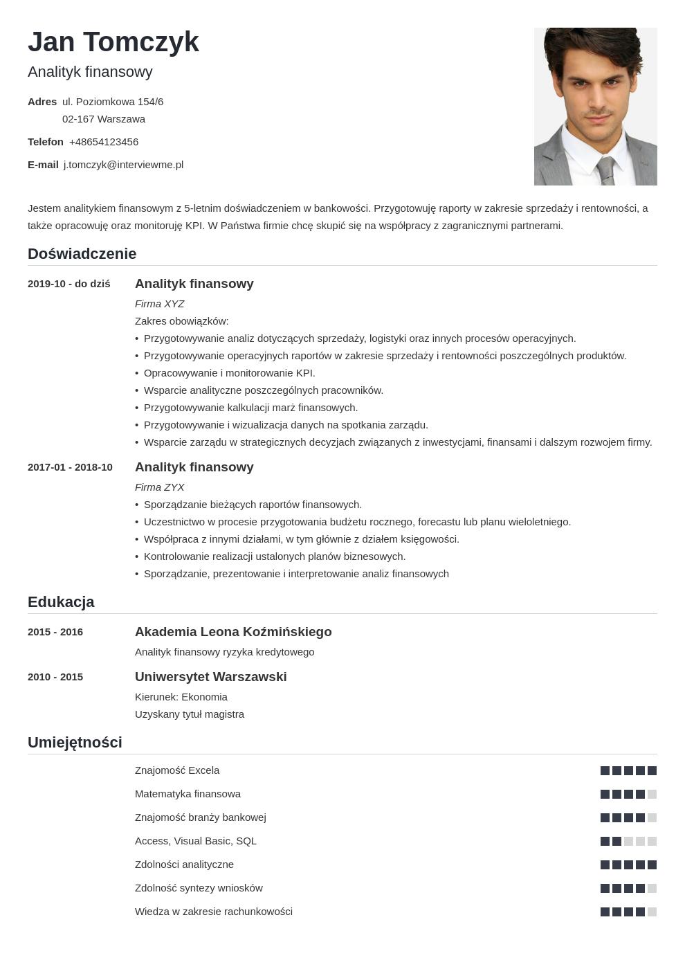 idealne cv dla specjalisty i managera template nanica