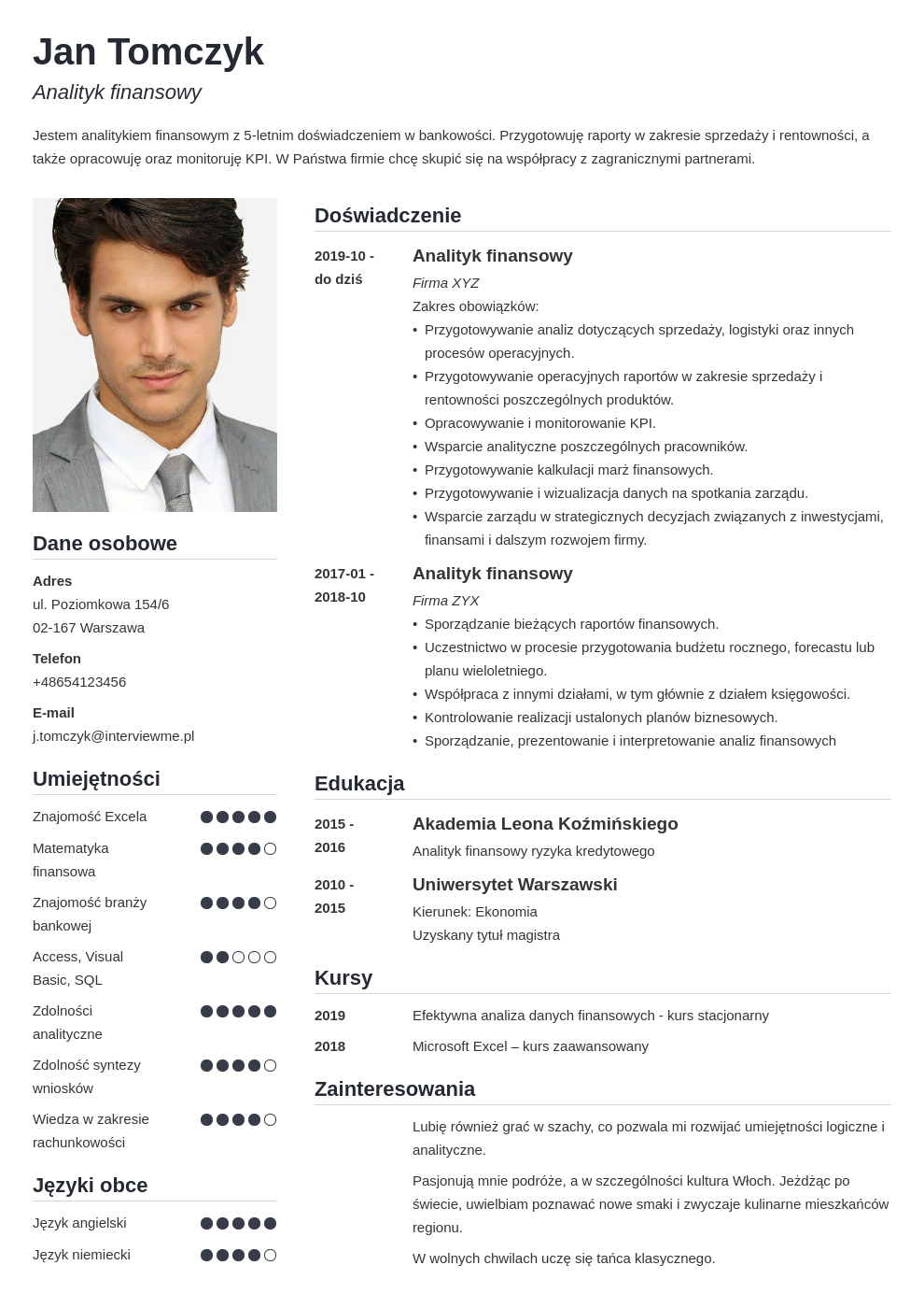 idealne cv dla specjalisty i managera template simple