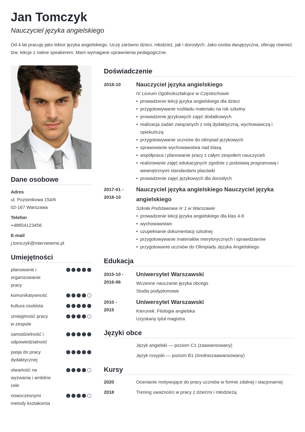 jezyki obce w cv template simple