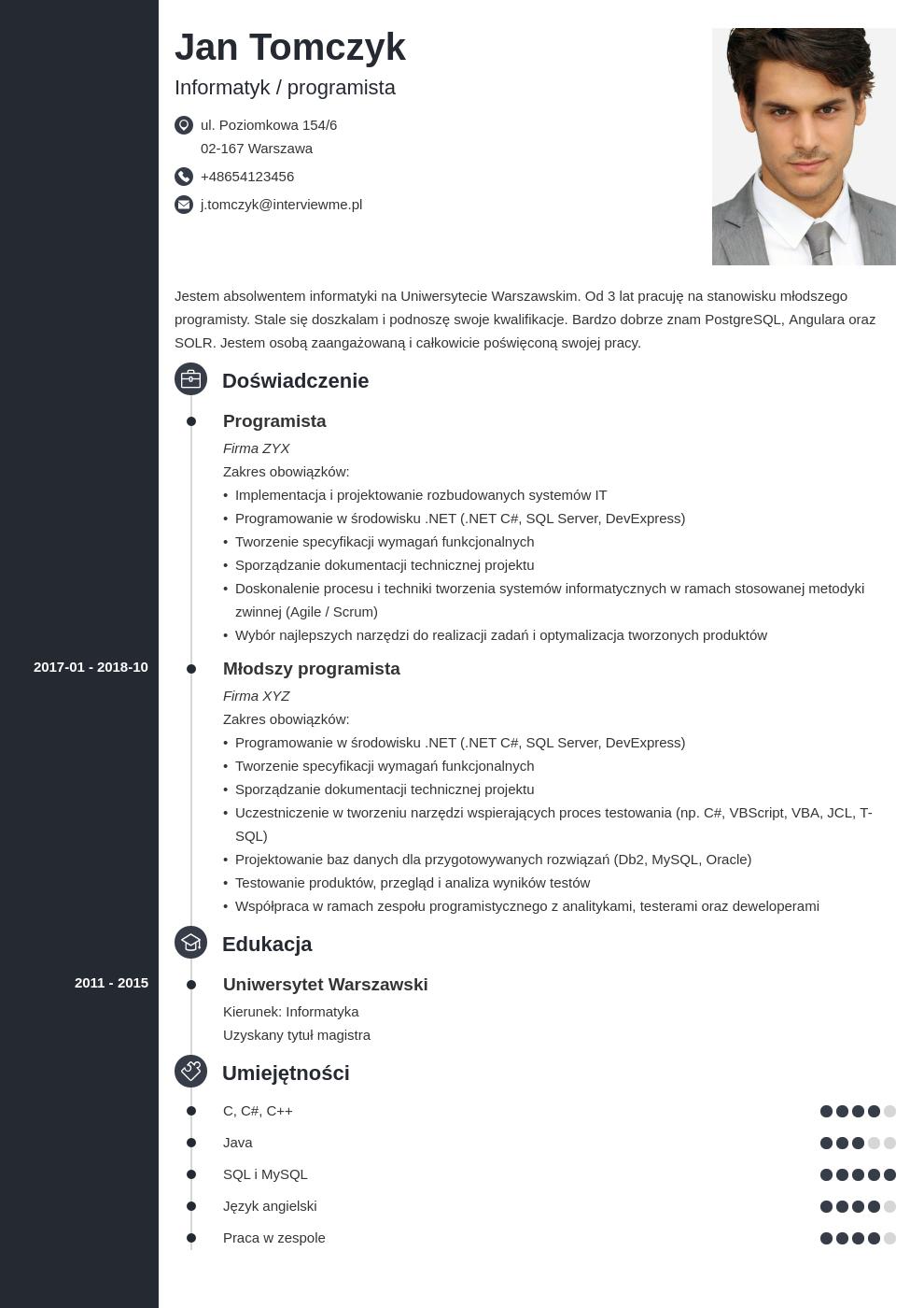 list motywacyjny cv informatyk template concept
