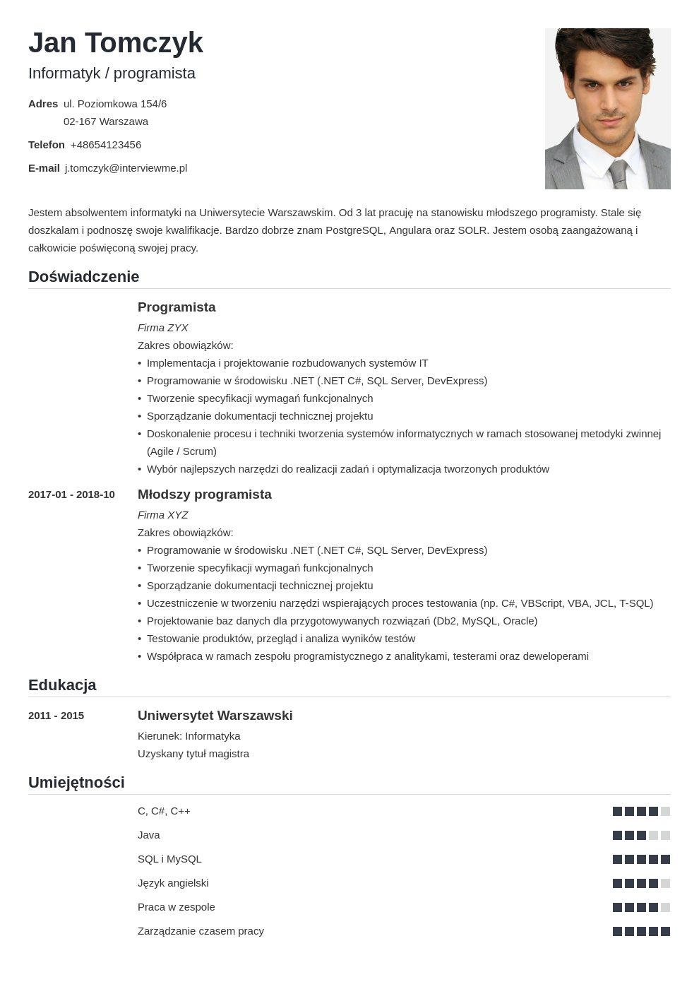 list motywacyjny cv informatyk template nanica