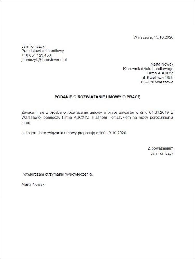 podanie o rozwiazanie umowy o prace