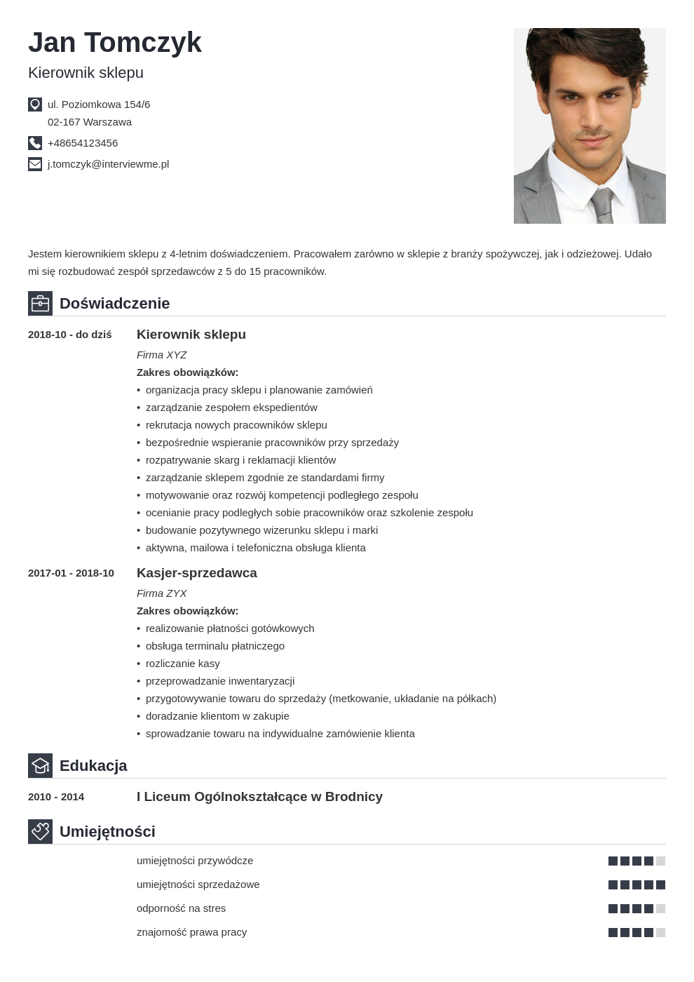 program do pisania cv template iconic