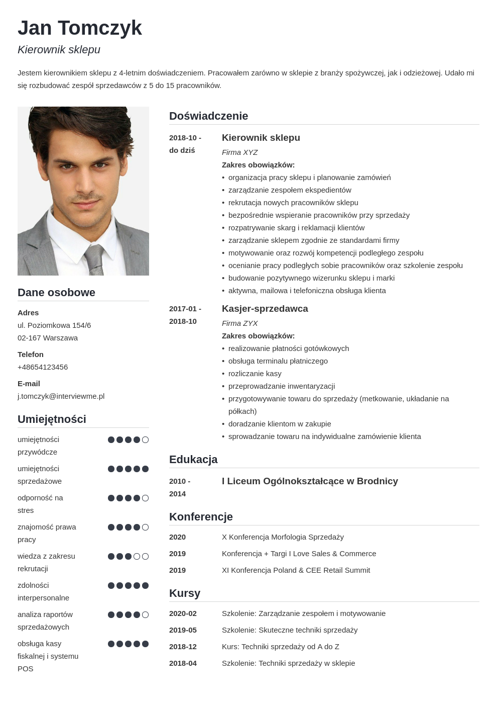 program do pisania cv template simple
