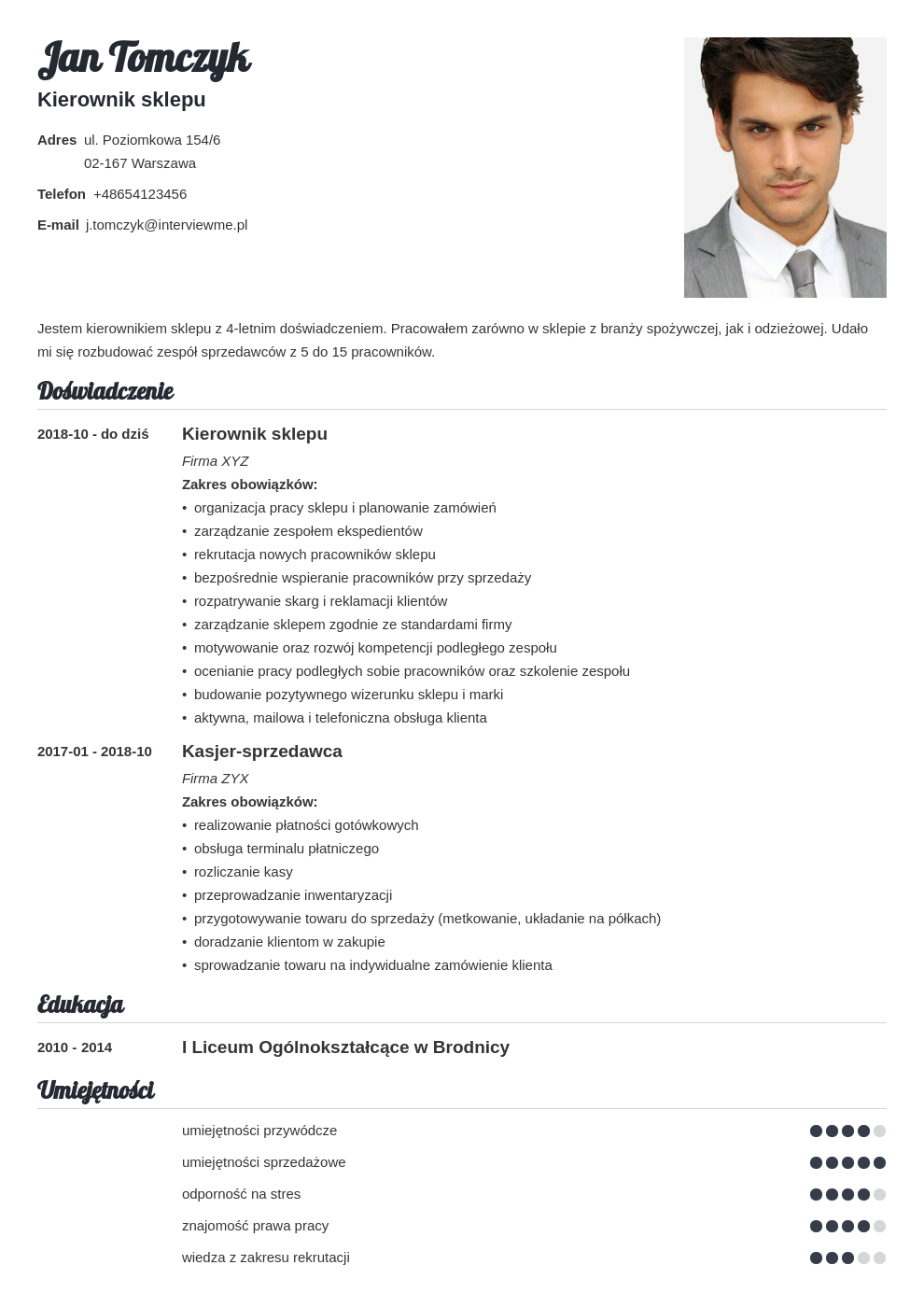 program do pisania cv template valera
