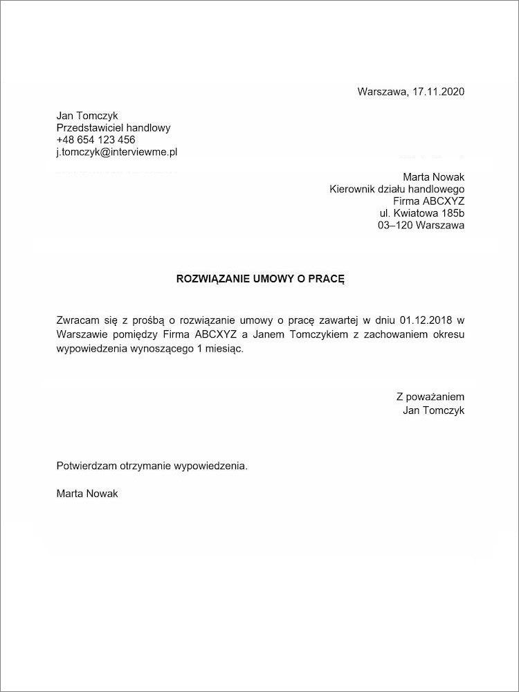 rozwiazanie umowy o prace