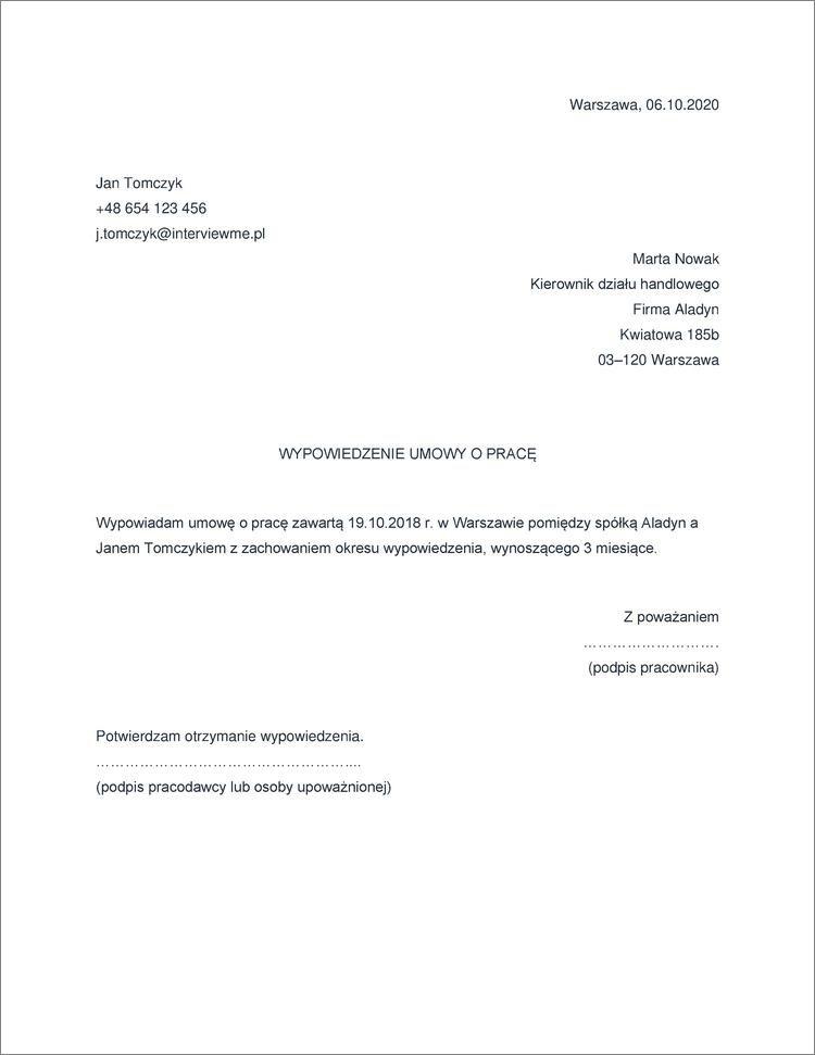 rozwiazanie umowy o prace na czas nieokreslony
